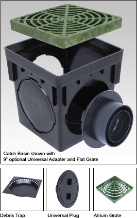 "Catch Basin shown with  9"" optional Universal Adapter and Flat Grate"